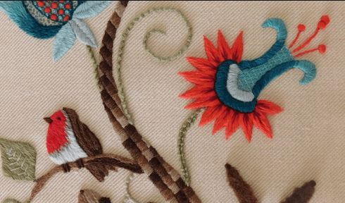 What is crewel embroidery